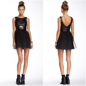 BCBGeneration Faux Leather Tulle Cocktail Dress
